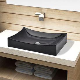 Chiuvetă de baie din ceramică, dreptunghiulară, negru