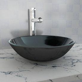 Chiuvetă de baie din sticlă călită, 42 cm, negru
