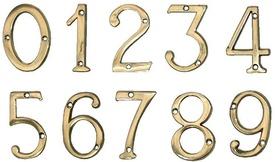 """Cifre din Alama pt Usa de Apartament """"6""""  - 1 buc"""