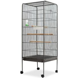 Colivie pentru păsări, oțel, 54x54x146 cm, negru
