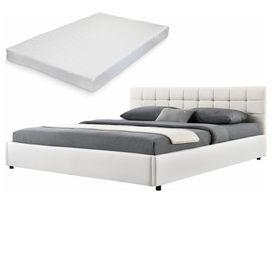 Corium® [my.bed] Pat frantuzesc elegant - cu saltea cu spuma recel - matlasat - 140x200cm (Partea capului: tesatura crem Rama: imitatie de piele alb) - cu rama pat