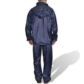 Costum ploaie bărbați 2 piese cu glugă Bleumarin XXL
