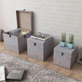 Cutie de depozitare beton, 3 buc, pătrat, gri, MDF