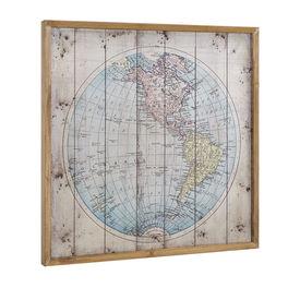 Design fotografie de perete pe placa de aluminiu Modell 3 - Harta America, 60x60x2,8cm cu rama lemn