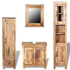 Dulap chiuvetă oglindă 2 dulapuri laterale lemn masiv de mango