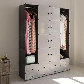 Dulap modular cu 18 compartimente alb și negru 37x146x180,5 cm