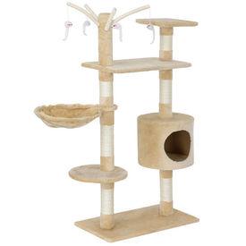 [en.casa]® Mobila pisici - Sisal pisici crem cu culcus