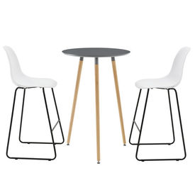[en.casa]® Set design Oxford masa bar rotunda cu 2 scaune, masa 70 x 107 cm, scaun 110 x 46,5 x 56 cm, MDF,/lemn/metal/plastic, gri inchis/alb
