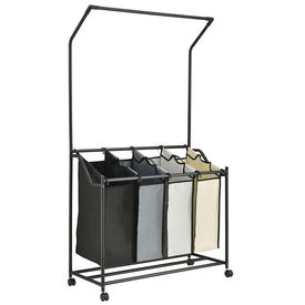 [en.casa]® Suport stender mobil AALS-8172 pentru depozitarea hainelor murdare cu bara pentru agatarea umeraselor, 160 x 89,5 x 40 cm, otel/plastic/poliester, negru