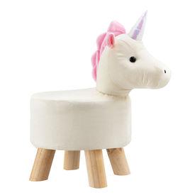 [en.casa] Scaun taburet pentru copii Pingo, model Unicorn, 45 x 28 x 48 cm, 150 Kg, lemn/flanel, alb