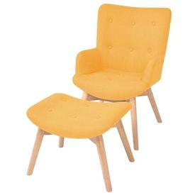 Fotoliu cu taburet pentru picioare, material textil, galben