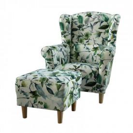 Fotoliu cu taburet textil tip frunze verzi GL ASTRID