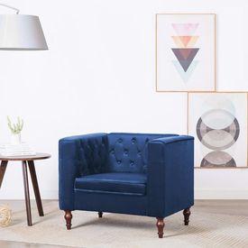 Fotoliu cu tapițerie din catifea, 86 x 67 x 71 cm, albastru