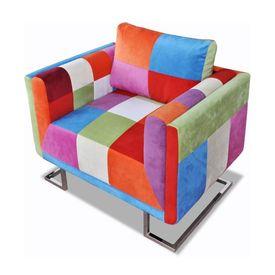 Fotoliu cub, picioare cromate, model Patchwork, material textil