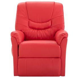 Fotoliu de masaj electric rabatabil, roșu, piele ecologică