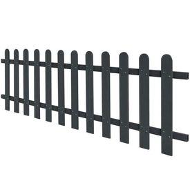 Gard din scânduri, lemn compozit, 200x60 cm, gri