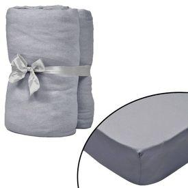 Husă de pat cu apă 2 buc., 200 x 200 cm, bumbac jerseu, gri