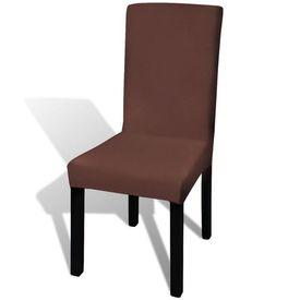 Husă elastică dreaptă pentru scaun, maro, 6 buc.