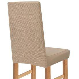 Husă elastică pentru scaun, bej Piqué, 4 buc.