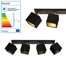 Lampa spot Queenstown cu 4 abajururi, 70 x 12 x 21 cm, 4 x E14, 40W, metal/textil, negru/alama, pentru sufragerie, dormitor, bucatarie