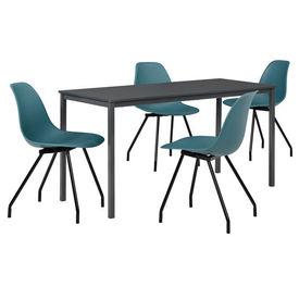 Masa bucatarie/salon design elegant (140x60cm) + 4 scaune turcoaz elegante / scaun bucatarie/salon