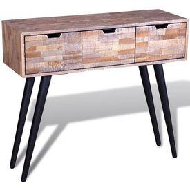 Masă consolă cu 3 sertare, lemn de tec reciclat