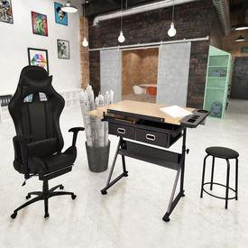 Masă de desen cu blat înclinat, cu scaun de birou
