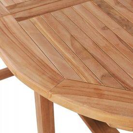 Masă de exterior pliabilă din lemn de tec, (110-160)x80x75 cm