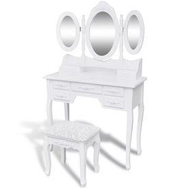 Masă de toaletă cu taburet și 3 oglinzi, alb
