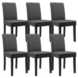 Masa eleganta Jeni, MDF efect stejar - maro deschis,140 x 90 cm - cu 6 scaune imitatie de piele, gri inchis cu picioare negre