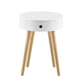 Masuta Onix, 50 x 38 x 38 cm, MDF lacuit/lemn brad, 10 Kg, alb, rotunda