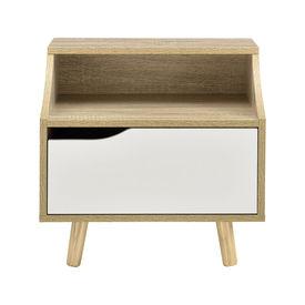 Noptiera cu sertar Dina, 45 x 46,5 x 35 cm, PAL, efect lemn stejar/alb