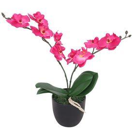 Orhidee artificială cu ghiveci, 30 cm, roșu