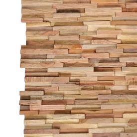 Panouri de perete 3D, 10 buc., lemn masiv de tec, 1 m²