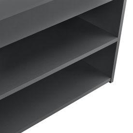 Pantofar AANF-6402, 70 x 30 x 45cm, PAL melaminat, gri inchis cu 2 rafturi si un compartiment depozitare acoperit