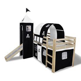 Pat etajat pentru copii, tobogan și scară din lemn, alb/negru