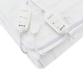Patura electrica dubla, 160 x 140 cm, poliester, 60W, 230V, controler, temperatura reglabila in 3 trepte, alb - se spala manual