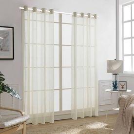 Perdele transparente, aspect pânză, 2 buc, 140 x 245 cm, crem