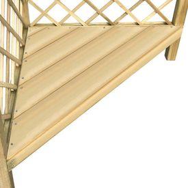 Pergolă colț cu banchetă 130x130x197 cm, lemn de pin tratat