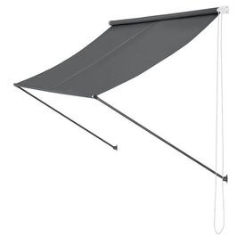 [pro.tec]® Copertina paravan solar retractabila montabila pe perete, 250 x 120 cm, otel/poliester, gri