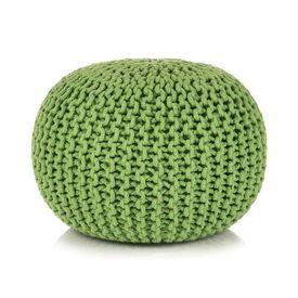 Puf tricotat manual, bumbac, 50 x 35 cm, verde