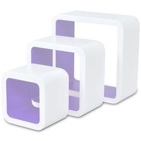 Rafturi cub de perete, 6 buc., alb și mov