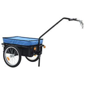 Remorcă de bicicletă/Căruț de mână, albastru, 155x61x83cm, oțel