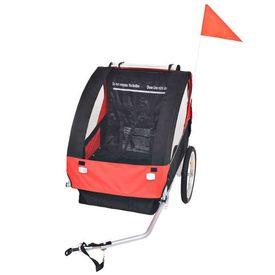 Remorcă de bicicletă pentru copii, roșu și negru, 30 kg