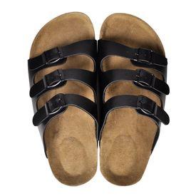 Sandale unisex din plută bio, 3 curele cu cataramă, mărime 40, negru