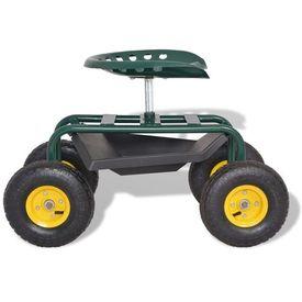 Scaun rotativ pentru grădină, cu roți pneumatice, verde
