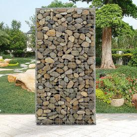 Set 5 bucati perete gabion - cos piatra, Model 1, plasa de sarma sinterizata ,cupru cositorit, 100 x 200 x 30 cm, gri/argintiu