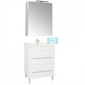 Set Baza, lavoar baie GN0541 cu sertare si oglinda GN5011 - 60 cm alb