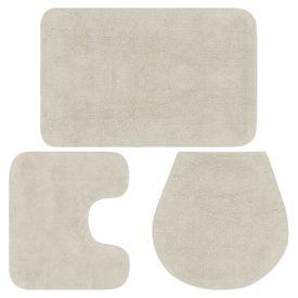 Set covorașe baie, 3 piese, alb, textil