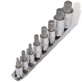 Set de chei tubulare bihexagonale pe șină, 8 piese